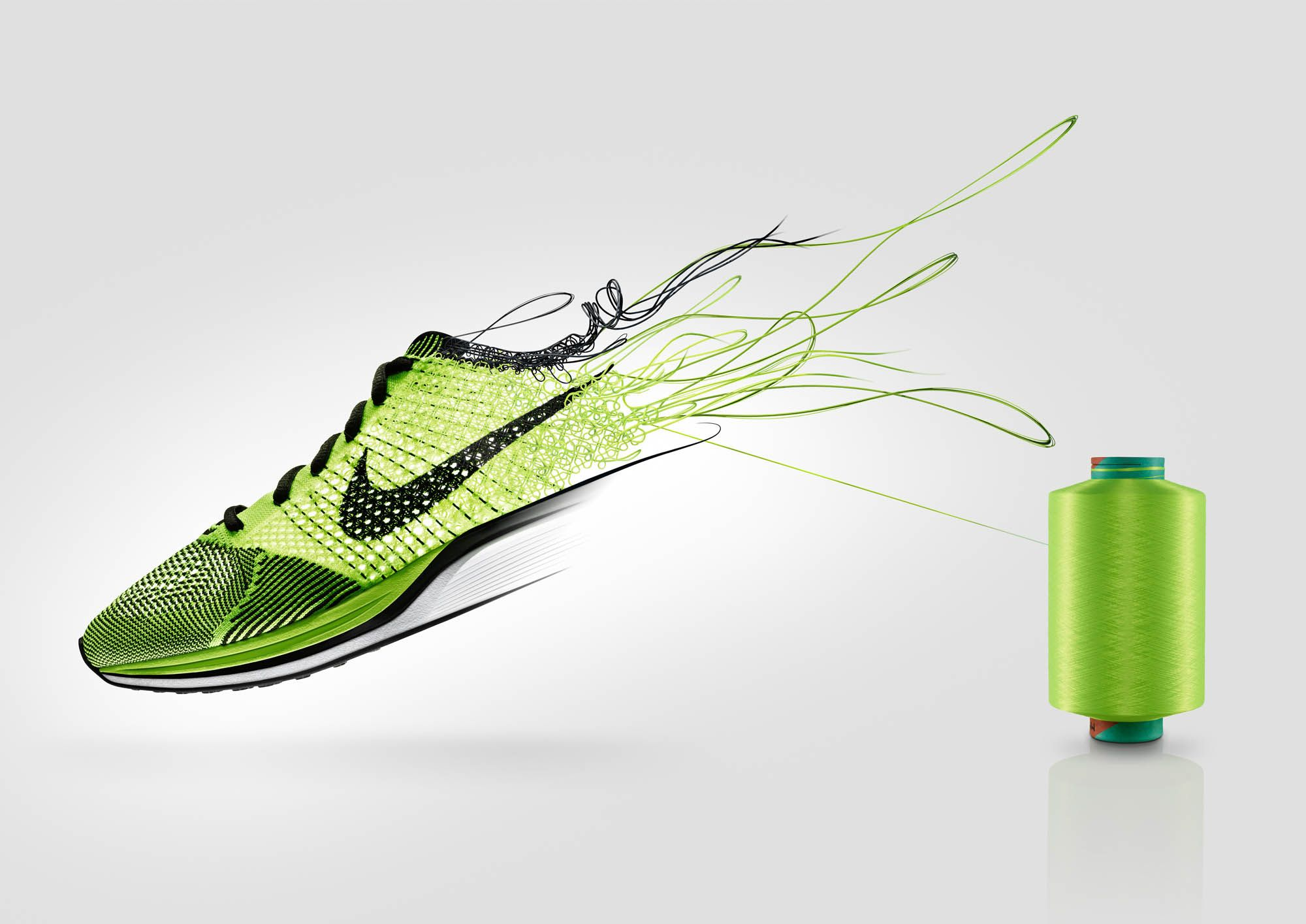 35ee7a5a32966 cgi Nike Flyknit trainer created for Nike global campaign.