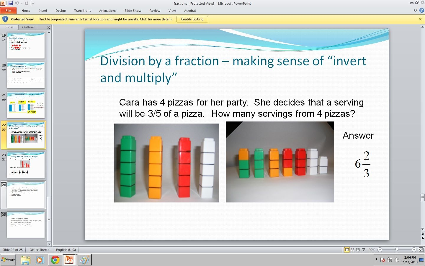 Using Unifix Cubes To Represent Division By A Fraction For Powerpoint Division Of