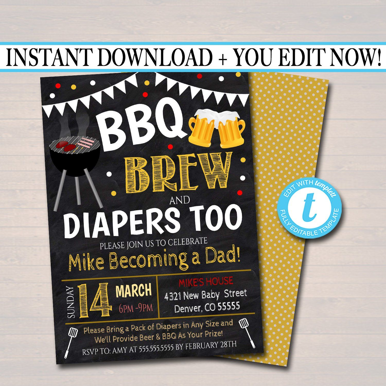 Baby Brewing Shower Beer /& Diaper Chalkboard Party Invitations Personalized
