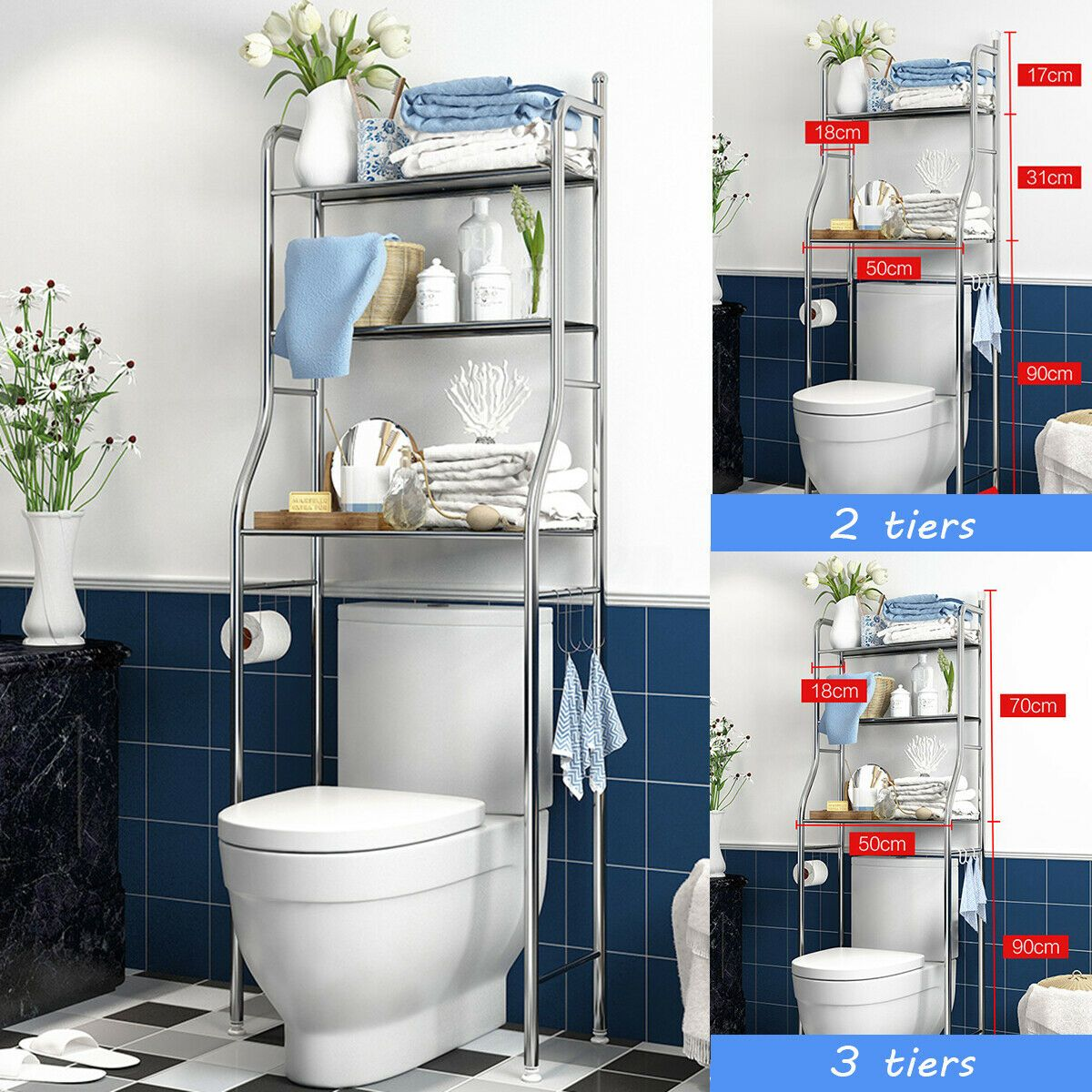 2 3 Towel Storage Rack Over The Toilet Washing Machine Shelf Bathroom 24 89 Cool Bathroom Storag In 2020 Bathroom Organisation Towel Storage Bathroom Storage Racks