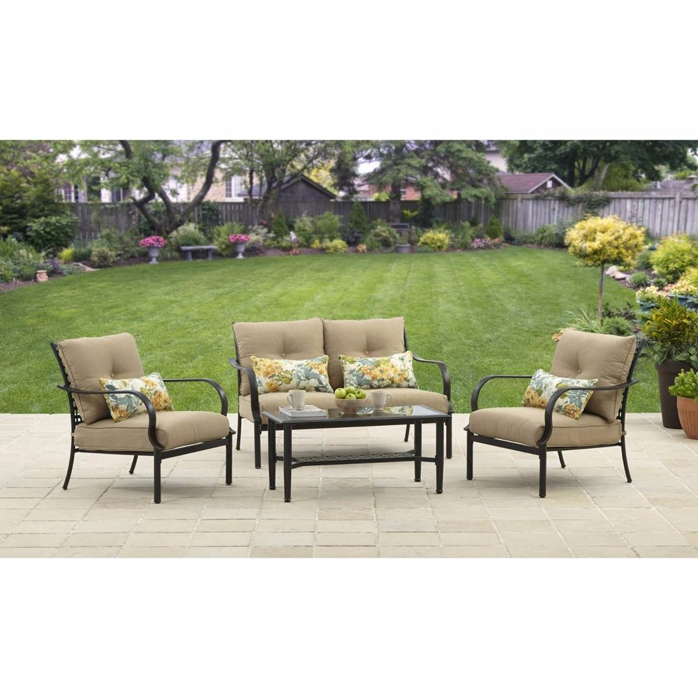 4 Piece Conversation Set With Cushions Patio Outdoor ...