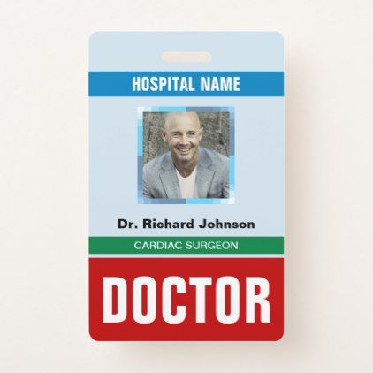 Customized Name and Photo Doctor ID Card Badge Badges - membership id card template