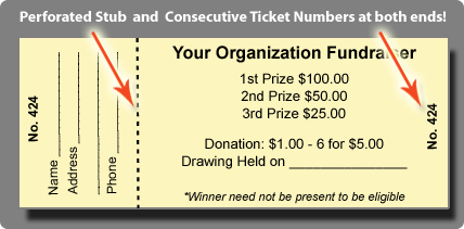 Raffle Tickets for Sale for nonprofit organizations Custom Raffle – Free Ticket Printing