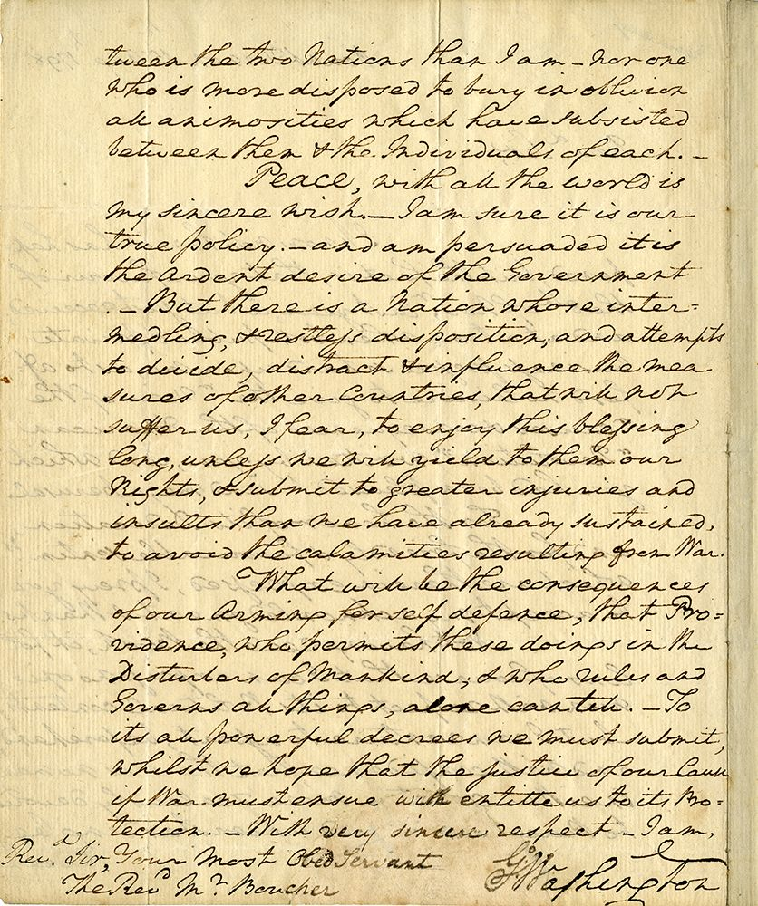 Extraordinary Autograph Letter Signed Go Washington Mount Vernon 15 August 1798 To The