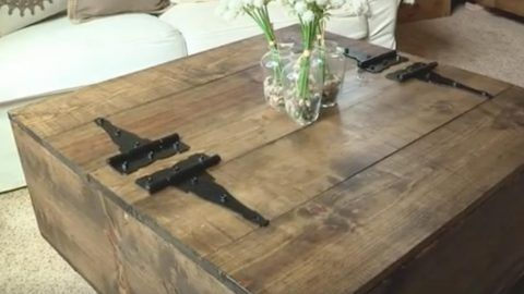 After Looking Everywhere For A Rustic Coffee Table With Storage, She Decided To Make This One (Watch!) | DIY Joy Projects and Crafts Ideas