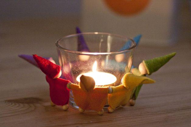 Jahreszeitentisch - Zwergenkreis Regenbogen, Wichtel - ein Designerstück von MrsFarbenfroh bei DaWanda
