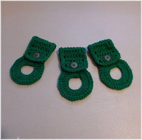 Towel Holder Set Towel Hangers Paddy Green by DebbieCrochets