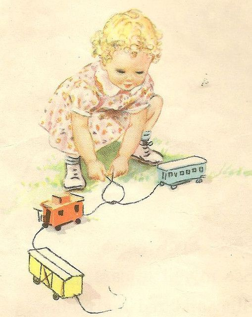 Eleanor Campbell illustration from vintage Dick & Jane book