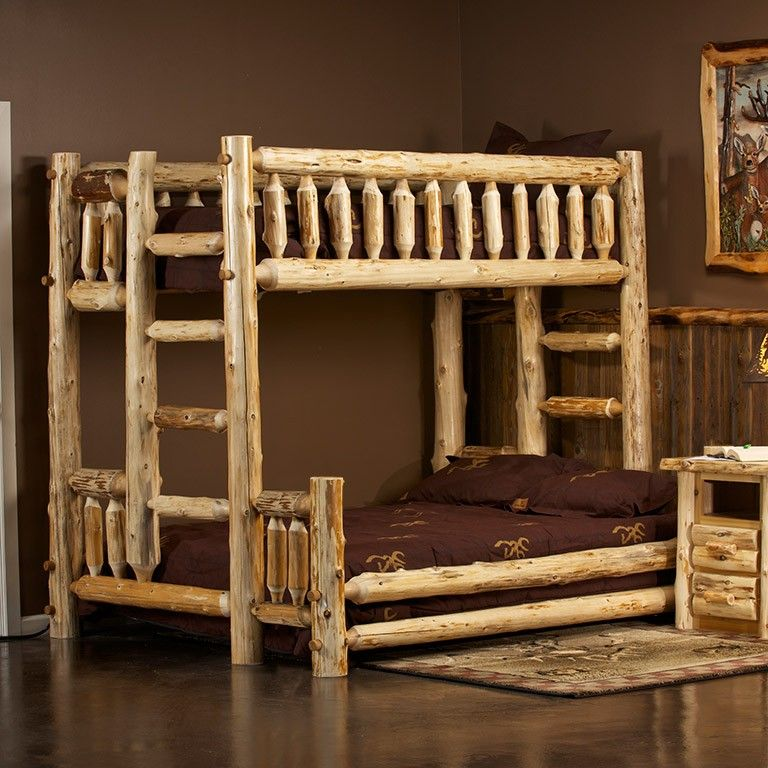 Cedar Lake Xl Twin Over Queen Log Bunk Bed Wood Work For David And