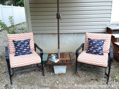 Diy Umbrella Stand With Side Table Outdoor Pottery Barn