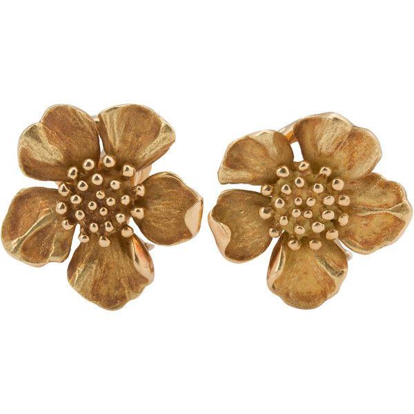 a7927ea87a5fd Pre-Owned Tiffany & Co. 18k Yellow Gold Dogwood Flower Earrings - ON ...