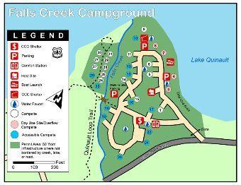Falls Creek Campground Map Lake Quinault Olympic National Forest Falls Creek Forest Falls