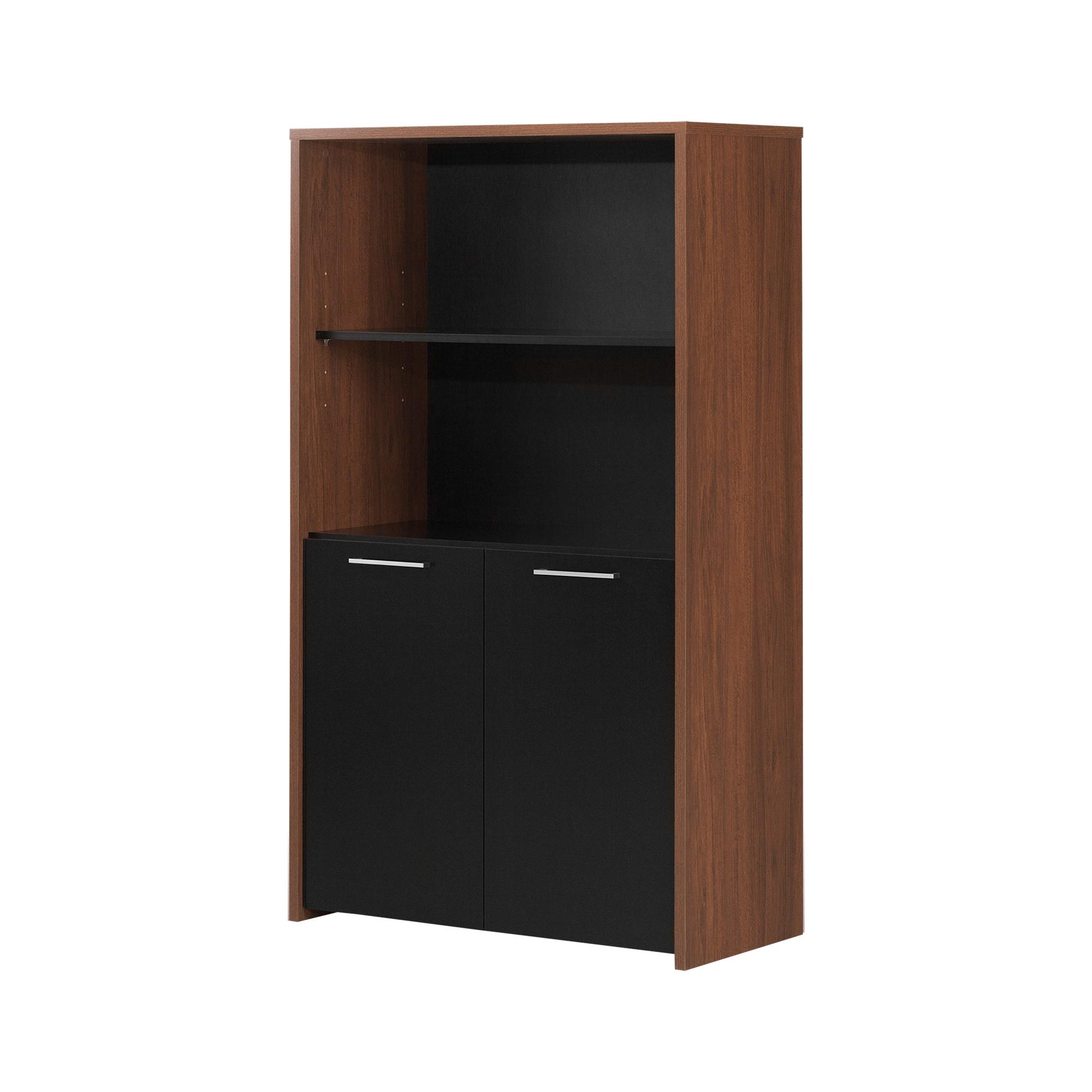 60 Tasko Storage Bookcase With Doors Walnut South Shore Bookcase Storage Storage Bookcase