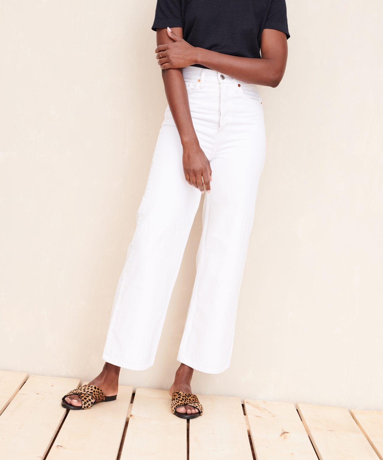 Photo of Ultra High Rise Wide Leg Jeans – White   Jenni Kayne