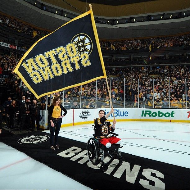5/4/13 Jeff Bauman, victim of the Boston Marathon bombing, served as the B's Fan Banner Captain prior to playoff game 2 at home vs Toronto.