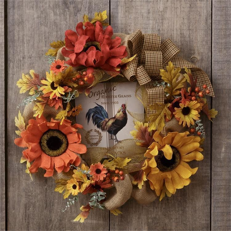 New Primitive French Country Rustic Tuscan BURLAP FLOWER ROOSTER Fall Wreath