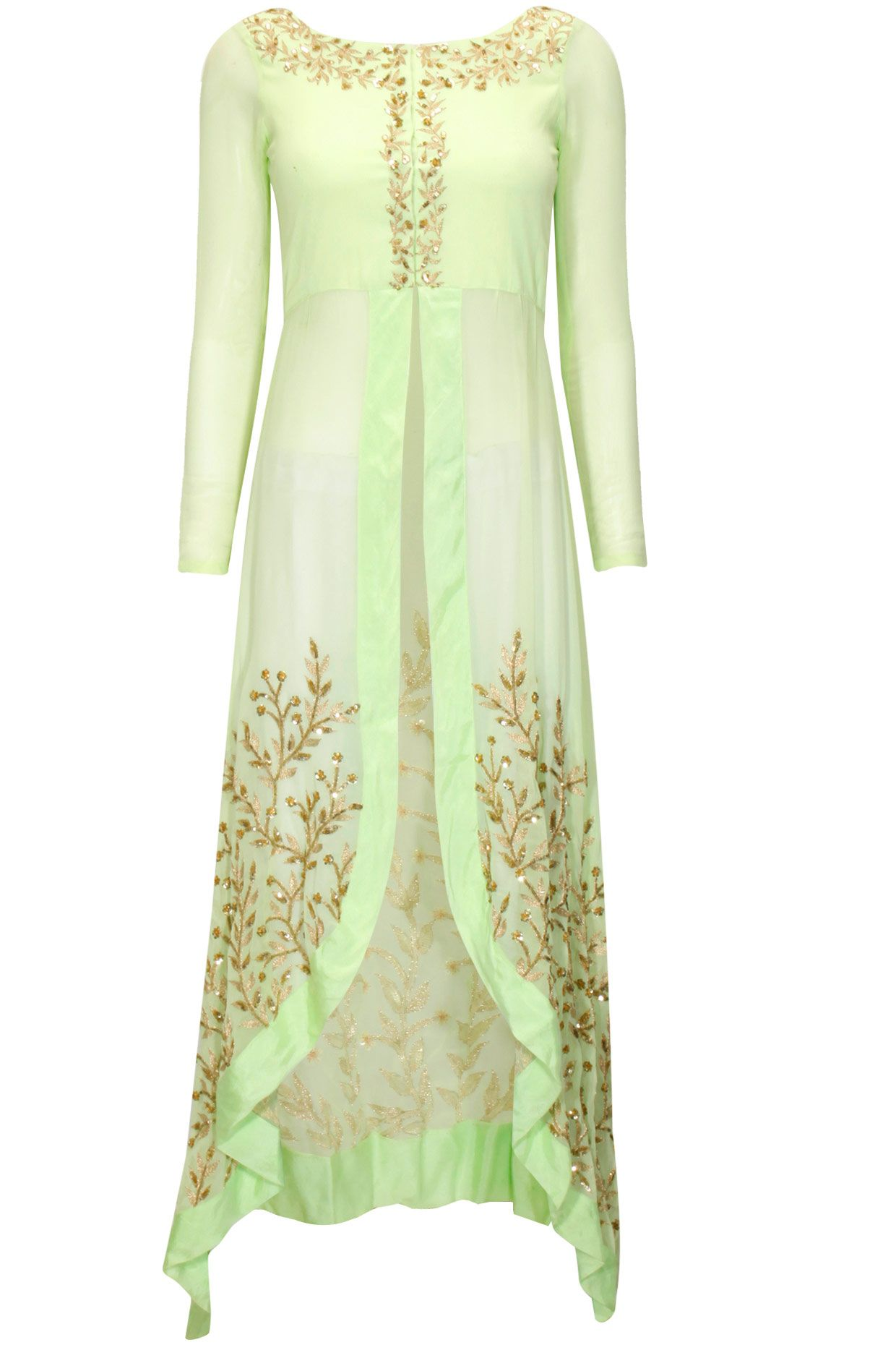 Mint Green Embroidered Highlow Jacket Available Only At