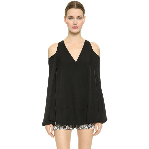6a30635322e Tamara Mellon Shoulderless Blouse ($240) ❤ liked on Polyvore featuring tops,  blouses, black, deep v neck top, cold shoulder blouse, low v neck tops, ...
