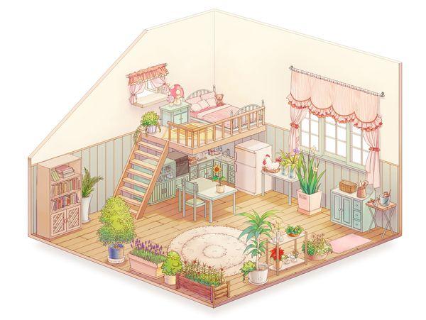 オリジナル 夢の家 Boyaのイラスト アイソメトリックアート