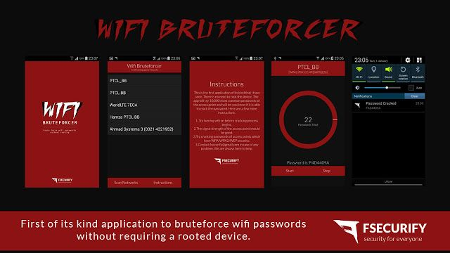 WiFi Bruteforcer - Android application to brute force WiFi passwords