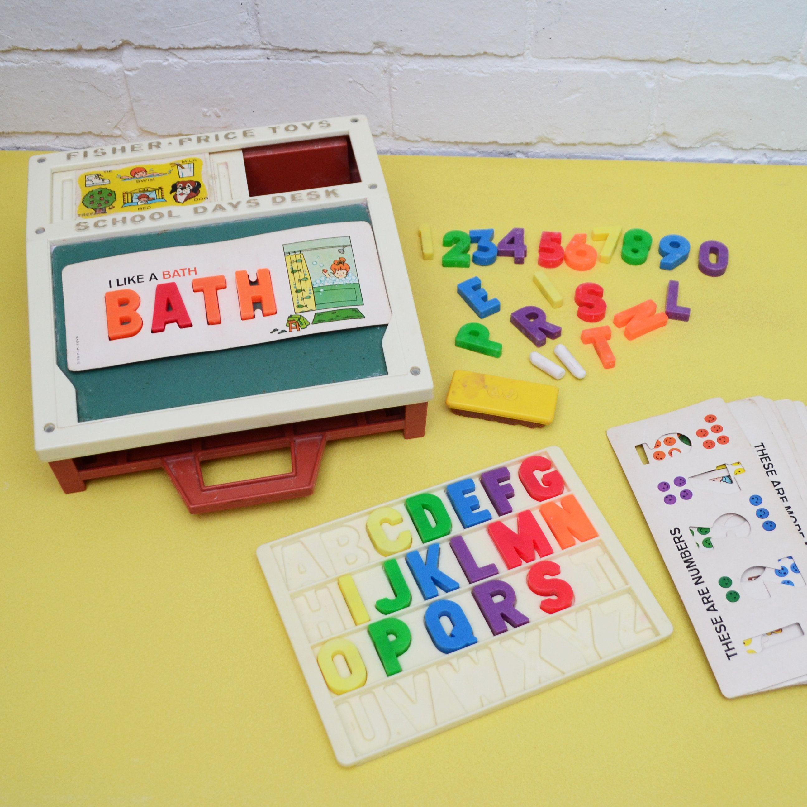 Vintage Fisher Price Play Desk Children S Spelling Toy Retro Fisher Price Desk Chalkboard Toy Education Vintage Fisher Price Activity Toys Educational Toys