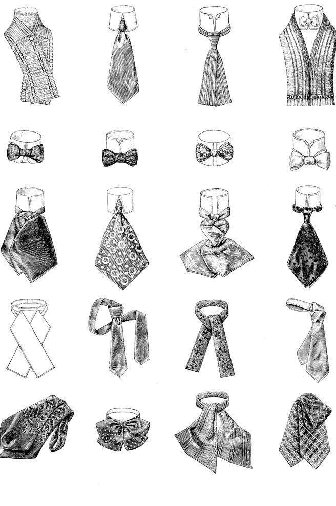 Distintos nudos para corbata masculina a principios del