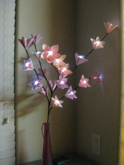 Origami Flower LED Lighting Branch