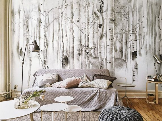 Best Deer In Woods Wallpaper Birch Trees Wall Mural By 400 x 300