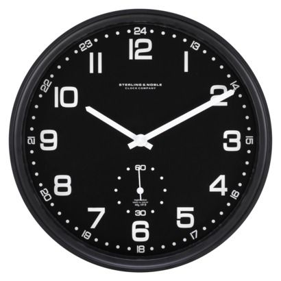 Threshold™ Brushed Aluminum Wall Clock - Black
