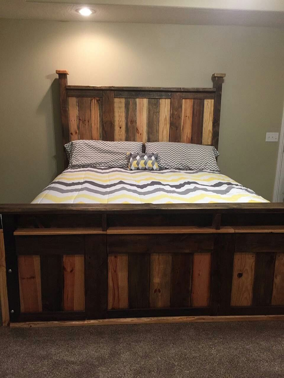 This Two Toned Pallet King Size Bed Frame Was Made From Scrap .