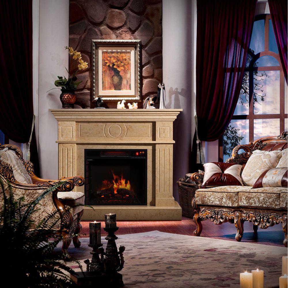 Sirio electric flame travertine mantel fireplace overstock