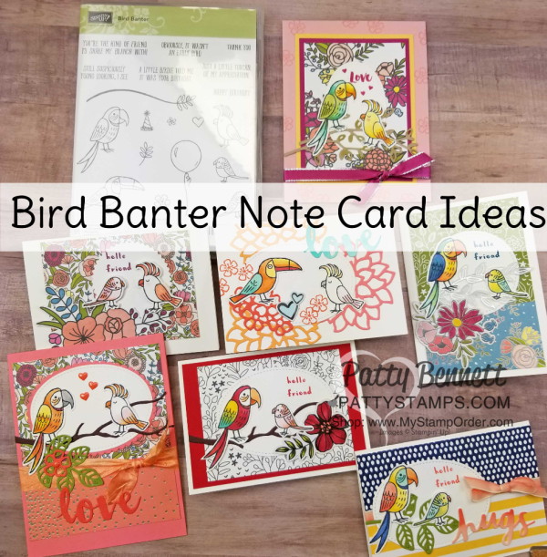 Bird Banter Note Cards colored with Stampin' Blends