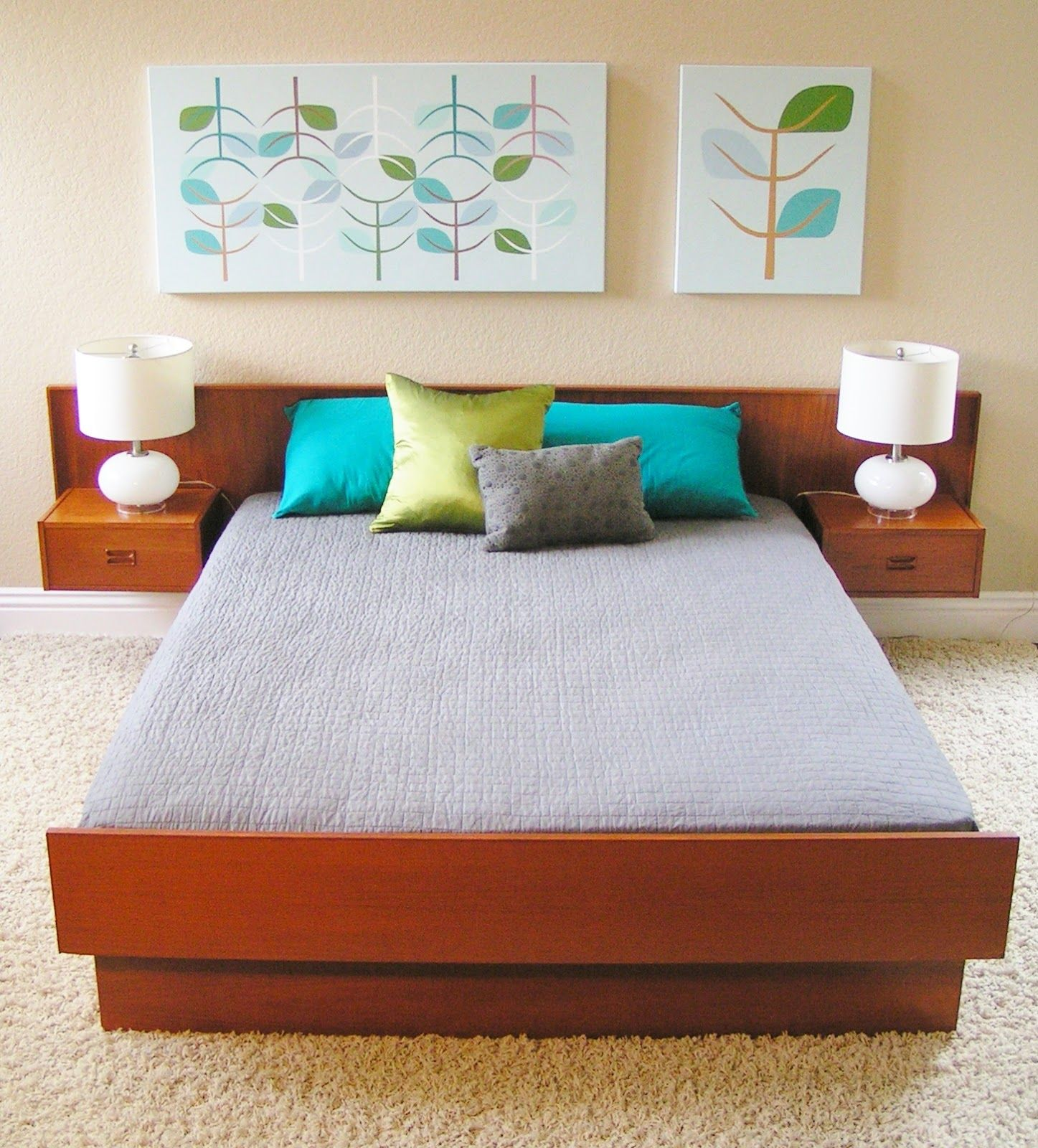 Vintage Mid Century Danish Modern Queen Teak Platform Bed With Floating End  Tables sleekandsimplelines@gmail