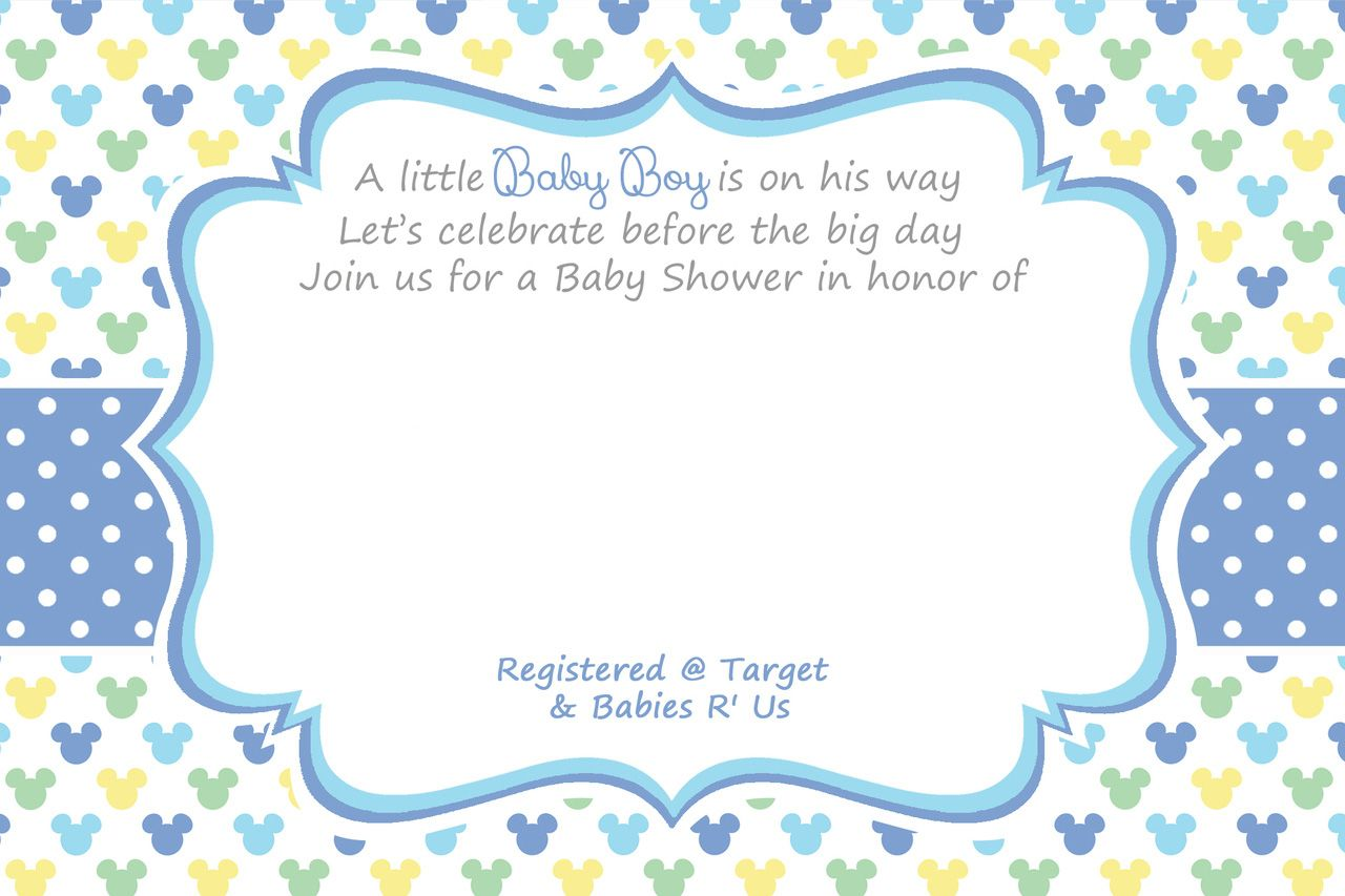Cool Free Printable Mickey Mouse Baby Shower Invitation Template
