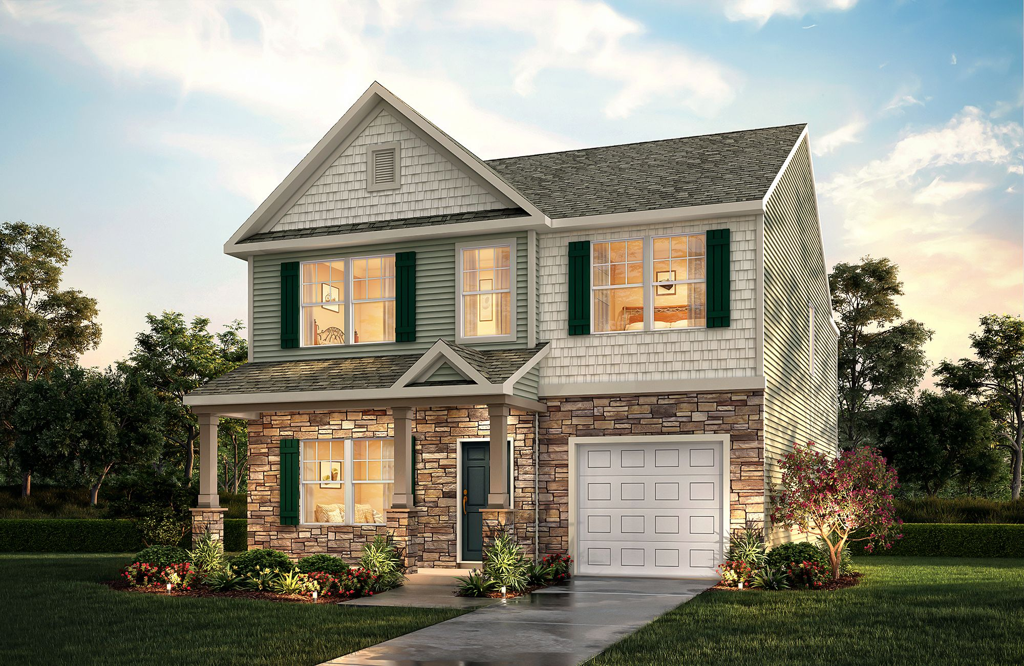Inverness E B6 One Car Garage True Homes House Styles House Elevation