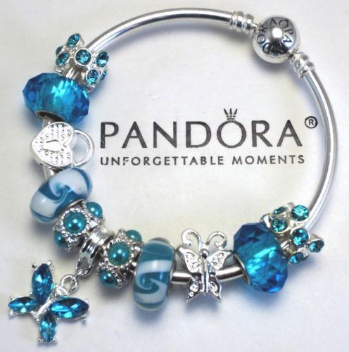 b98833240 Authentic Pandora Bracelet Blue Heart Butterfly Special Love Charm Murano  Beads