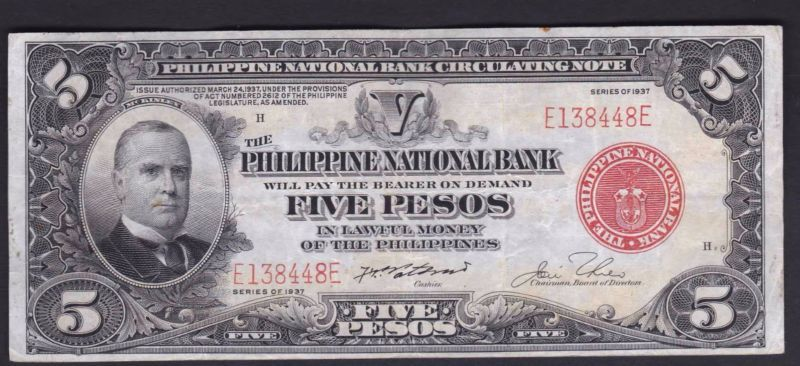 Banknote Us Philippines National Bank 5 Pesos 1937 Sn E138448e