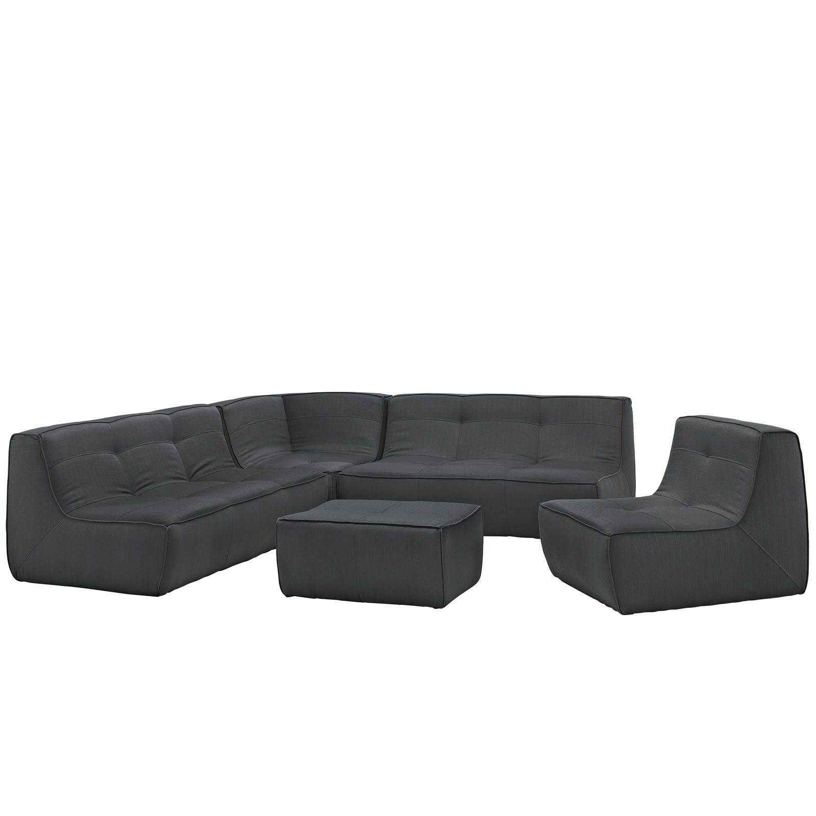 Best Modway Align 5 Piece Upholstered Sectional Sofa Set 400 x 300