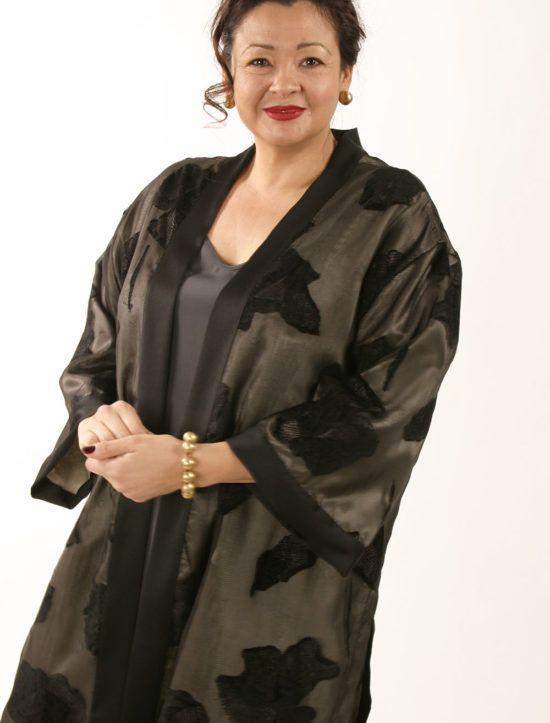 14fb227c86b Mother of Bride Dressy Kimono Jacket Artwear Silk Caramel Sage Size 26 28