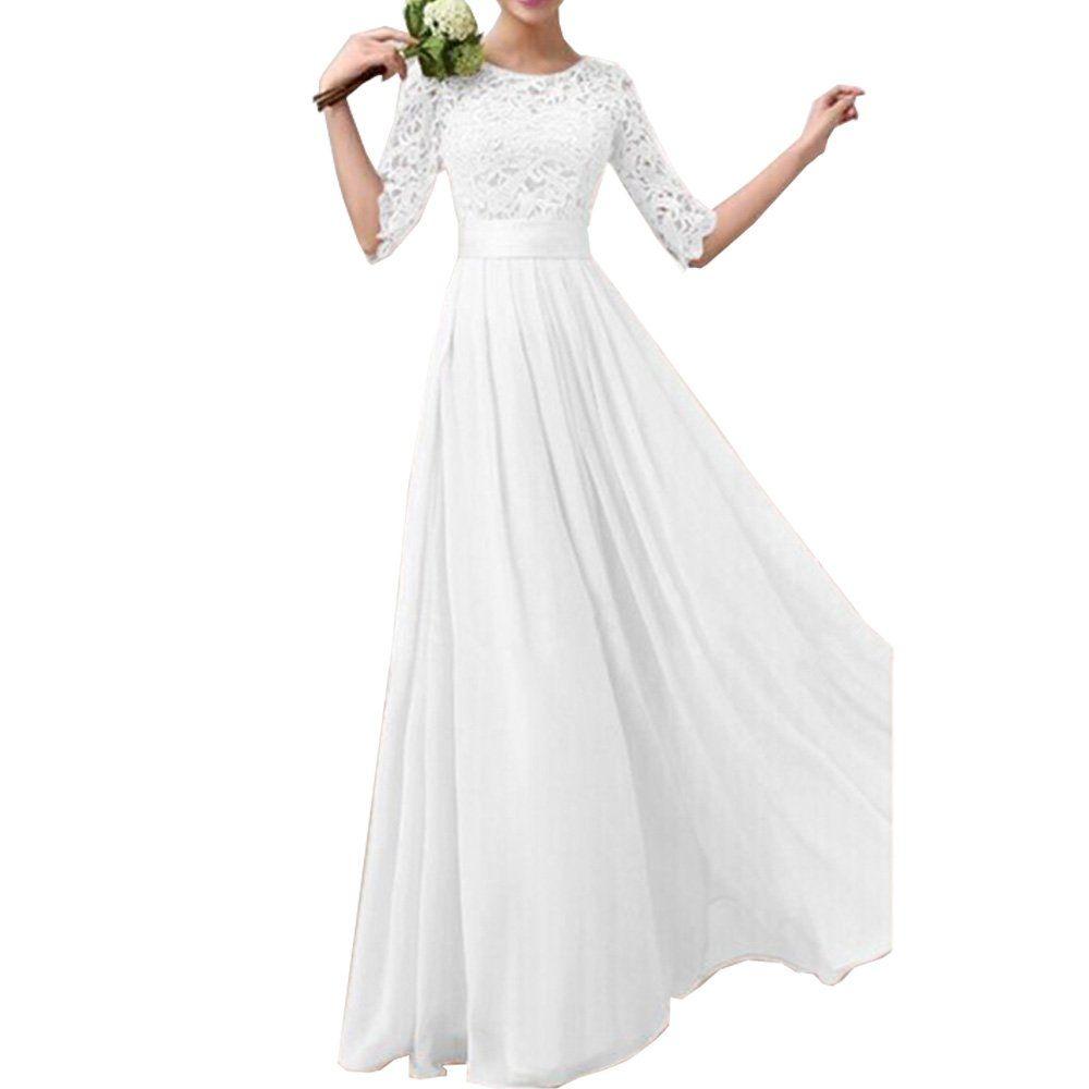 Eiffel womens lace splicing chiffon long maxi dress evening wedding
