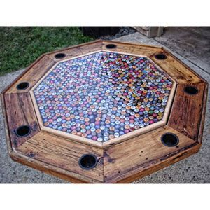 Beer can creations poker table beer bottle caps and beer bottles beer bottle cap poker table would love to make this for caleb for christmas solutioingenieria