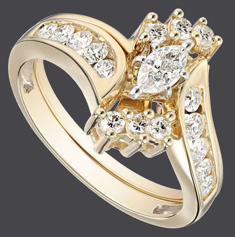 14k Yellow Gold Bypass Diamond With Marquise Wedding Bridal Ring Set Bridal Ring Sets Wedding Ring Sets Bridal Rings