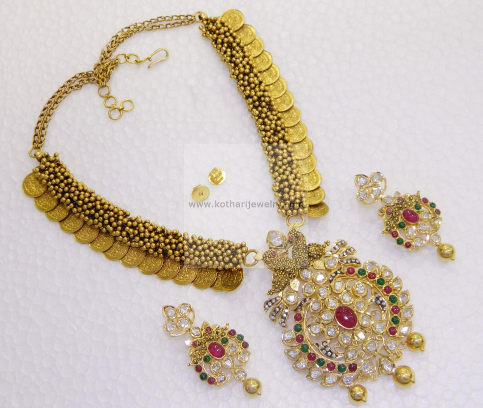 Latest gold necklace designs in grams pachi necklace latest jewellery - Kasu Necklace With Pachi Pendant Bollywood Jewelryjewellery Designslatest