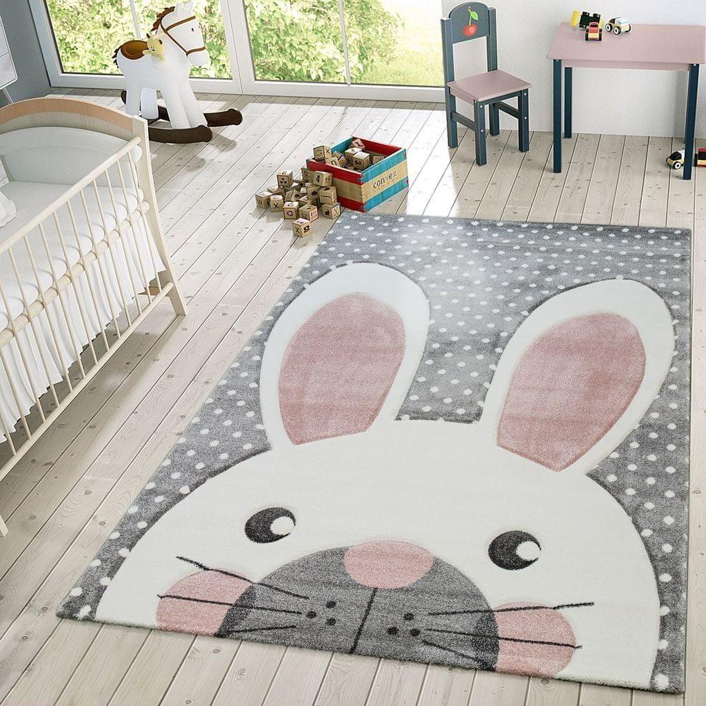 Kinder Teppich Moderner Spielteppich Hase Pastell Töne In