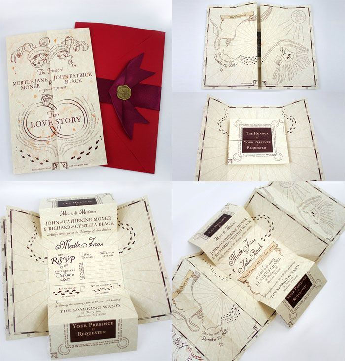 Romance Managed: Harry Potter Marauder's Map inspired wedding invitations.  Map takes you through your proposal story and leads to your wedding information in a secret compartment.  www.etsy.com/...