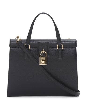 Made In Italy Padlock Flap Grained Leather Bag