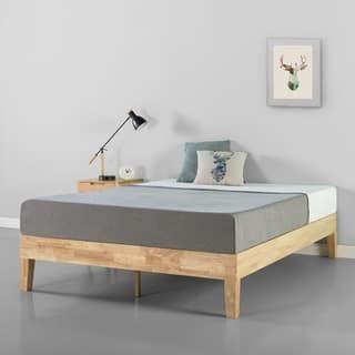Priage 14 Inch Natural Wood Platform Bed Solid Wood