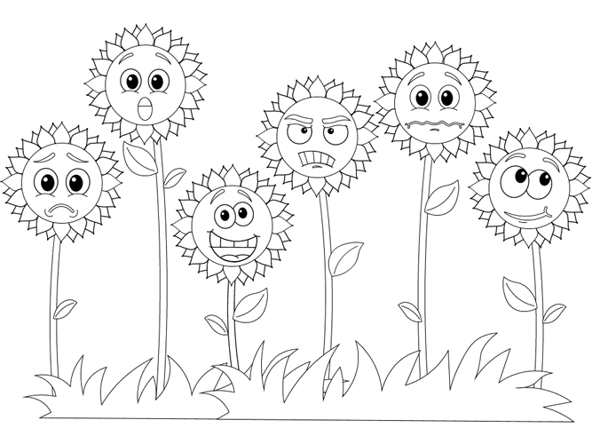 Emotional Sunflowers In 2021 Coloring Pages Emotional Child Emotions