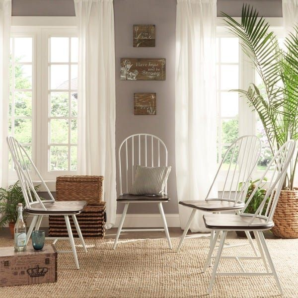 Belita Two-Tone Spindle Wood Dining Chairs (Set of 4) by ...