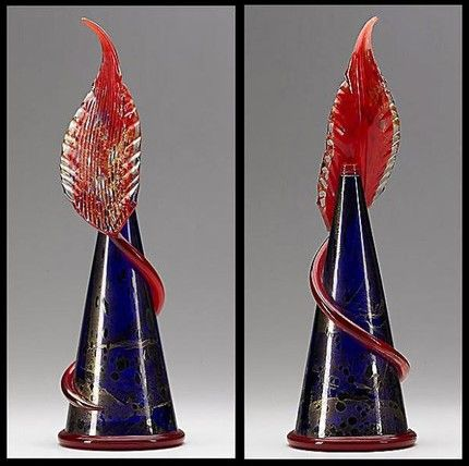 #DaleChihuly Glass Sculpture Midnight Blue Piccolo Venetian  with Red Feather